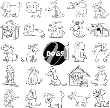 Black and White Cartoon Illustration of Dogs and Puppies Pet Animal Characters Large Collection