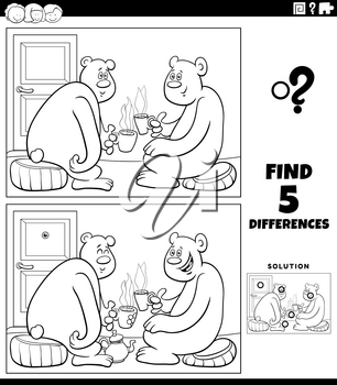 Black and white cartoon illustration of finding the differences between pictures educational game for children with bear characters drinking tea coloring book page