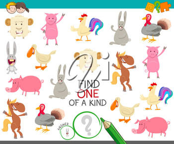Cartoon Illustration of Find One of a Kind Picture Educational Activity Game with Cute Farm Animal Characters