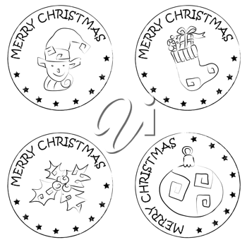 Royalty Free Clipart Image of Four Christmas Stickers
