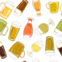 Hand drawn pattern with beer pints and glasses isolated on white