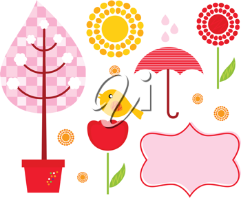 Royalty Free Clipart Image of Plants and Weather