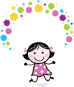 Royalty Free Clipart Image of a Girl With Flowers
