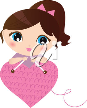 Curte beautiful Woman with knitted pink heart. Vector Illustration