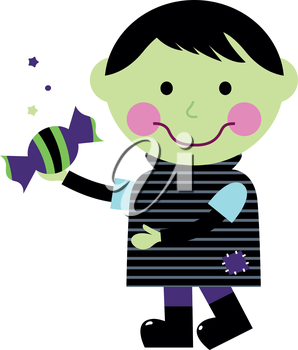 Royalty Free Clipart Image of a Zombie Trick-or-Treater