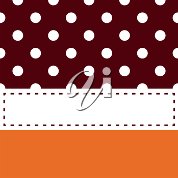 Royalty Free Clipart Image of a Stitched Frame on a Brown and Orange Spotted Background