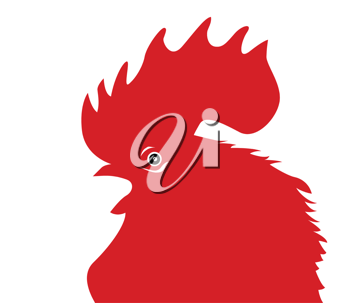Royalty Free Clipart Image of a Red Rooster