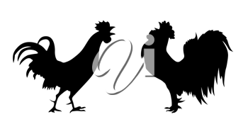Royalty Free Clipart Image of a Rooster and Hen
