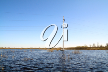 electric pole in water