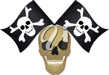 Skull with the crossed flags, file EPS.8 illustration.