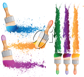 Royalty Free Clipart Image of Paintbrushes and Streaks