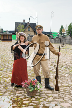 Royalty Free Photo of a World War I Soldier and Woman