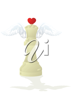 Royalty Free Clipart Image of a White Amorous Chess Piece