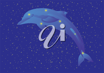 Royalty Free Clipart Image of a Dolphin Constellation