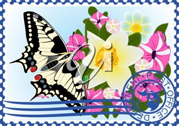 The illustration on a postage stamp. Butterfly and wildflowers.