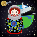 Nesting doll Russian cosmonaut in open space on the background of the Earth. The illustration on a white background.