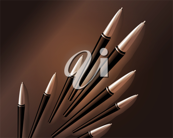 Royalty Free Clipart Image of Ink Pens in 3d