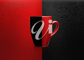 Royalty Free Photo of a Two Tone Mug on a Two Tone Background