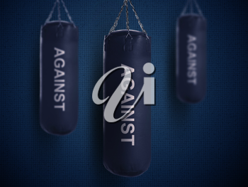 Royalty Free Photo of Punching Bags on a Dark Background