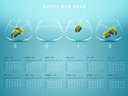 Royalty Free Photo of a 2012 Calendar With Four Fishbowls. Three Fishbowls Have Angelfish Swimming Inside