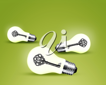 old key in light bulb, conceptual image for solutions.