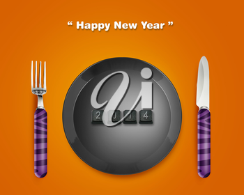 Happy new year 2014, keyboard buttons in plate with 2014 numbers with Fork and knife.