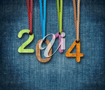 Happy New year 2014,  numbers hunging by rope as puppeteer on sackcloth background, the same concept available for 2015 and 2016.