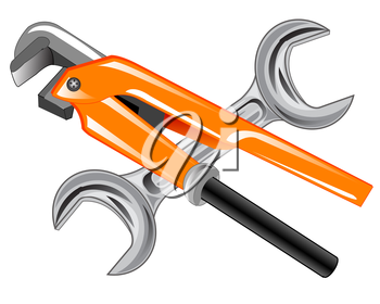 Two wrenches for repair on white background is insulated