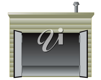 The Empty garage with torn away winch for car.Vector illustration