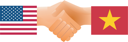 Royalty Free Clipart Image of the United States and Vietnam Shaking Hands
