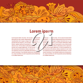 White field for the text on a bright background with orange vegetation the ornament. Vector illustration.