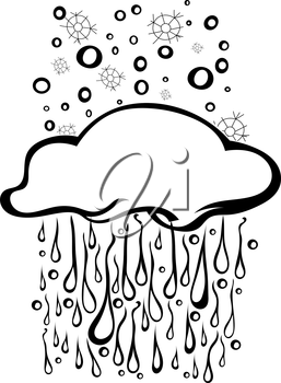 Sketch clouds with isolated rain and snow. Vector illustration.
