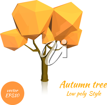 Image of autumn tree in low poly style on a white background. Vector illustration