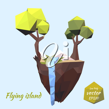 The island with the mountains, tree and falling mountain river on a blue background. Nature, landscape. Green tourism. Low poly style. Vector illustration.