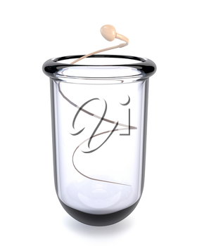 The sperm in a test tube isolated on a white background. Concept of successful in vitro fertilization. IVF. 3d illustration.