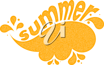 Yellow vector symbol summer sea on a white background. Abstract image of the waves with  the text SUMMER and texture. Stock vector illustration