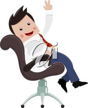 Satisfied businessman. Color image of a happy successful young businessman in a chair with his hand raised. Symbol of good luck and success in business. Stock vector illustration