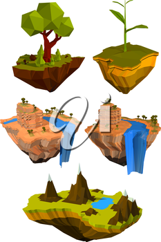 Vector set of colored flying islands with trees, mountains and waterfalls. Abstract symbol of nature. Ecology icon. Stock vector illustration