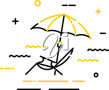 Flat color icon of a beach umbrella with a sun lounger on a white background. Symbol of summer holidays. Vector illustration