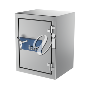 Bank safe with digital lock, isolated on white background