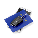 Car key, passport and smartphone on white background
