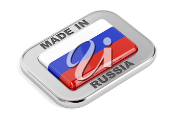 Made in Russia badge with Russian flag inside