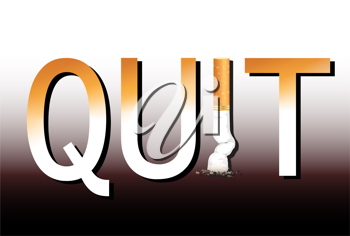 Royalty Free Clipart Image of Quit Spelled in Cigarettes