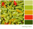 A background of red and green chilli peppers in a colour palette with complimentary colour swatches.