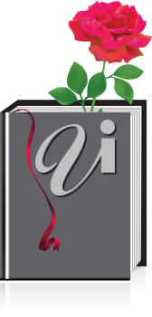 Royalty Free Clipart Image of a Red Rose in a Book