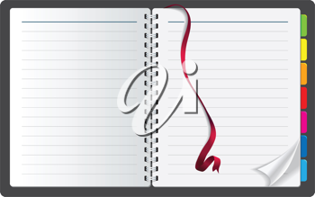 Royalty Free Clipart Image of a Notebook With a Ribbon