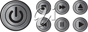 Royalty Free Clipart Image of Icon Metal Buttons