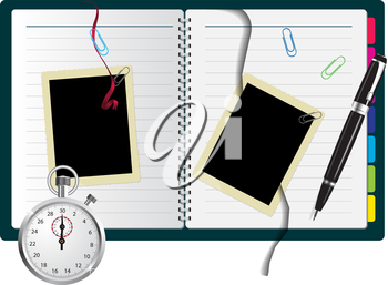 Royalty Free Clipart Image of a Book With Pictures, a Pen and a Stopwatch