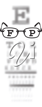 Royalty Free Clipart Image of an Eye Test With Glasses