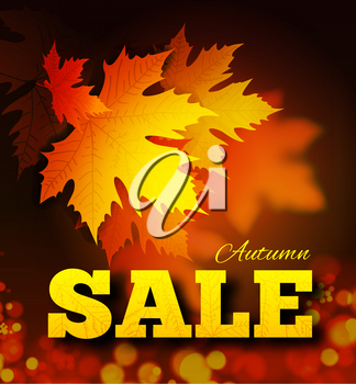 Autumn sale background with leaf texture on the letters and bokeh. Vector illustration